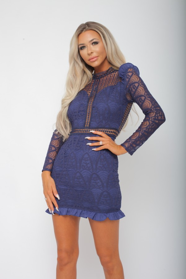 Tiby Long Sleeve Lace Mini Dress in Navy
